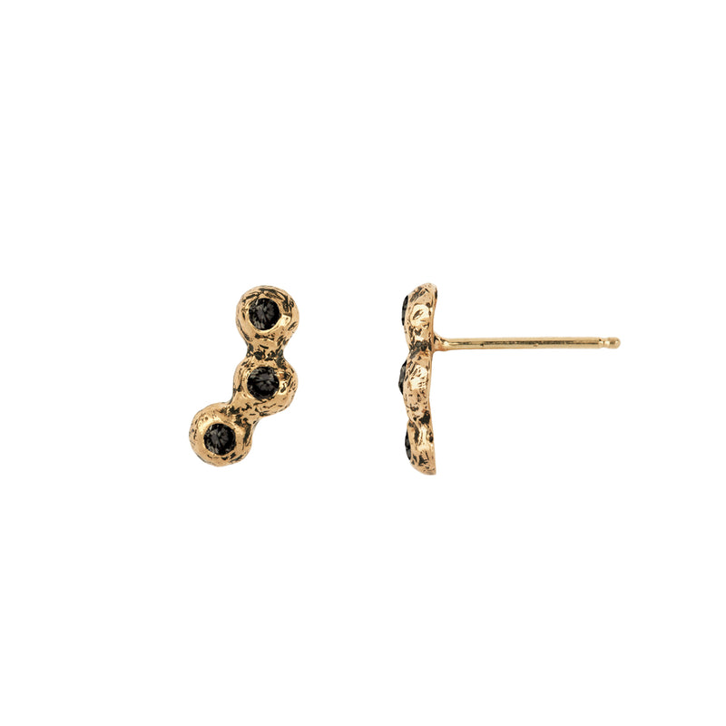Triple Stone Set 14K Gold Studs