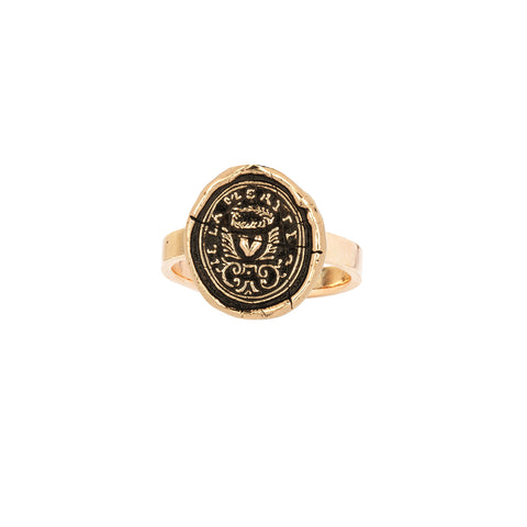 True Self 14K Gold Flat Band Talisman Ring