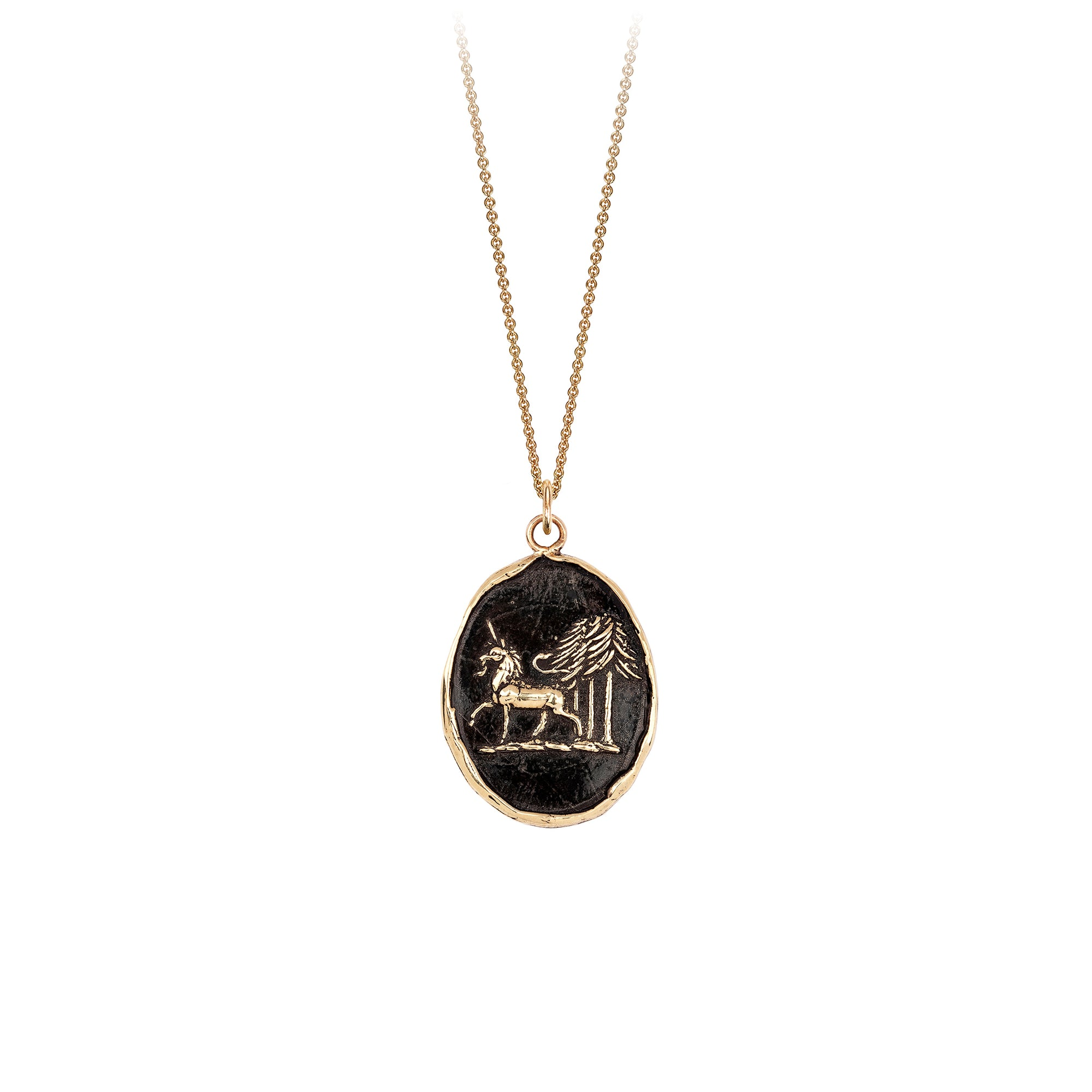 Pyrrha 14K Gold Unicorn in the Forest Talisman Necklace