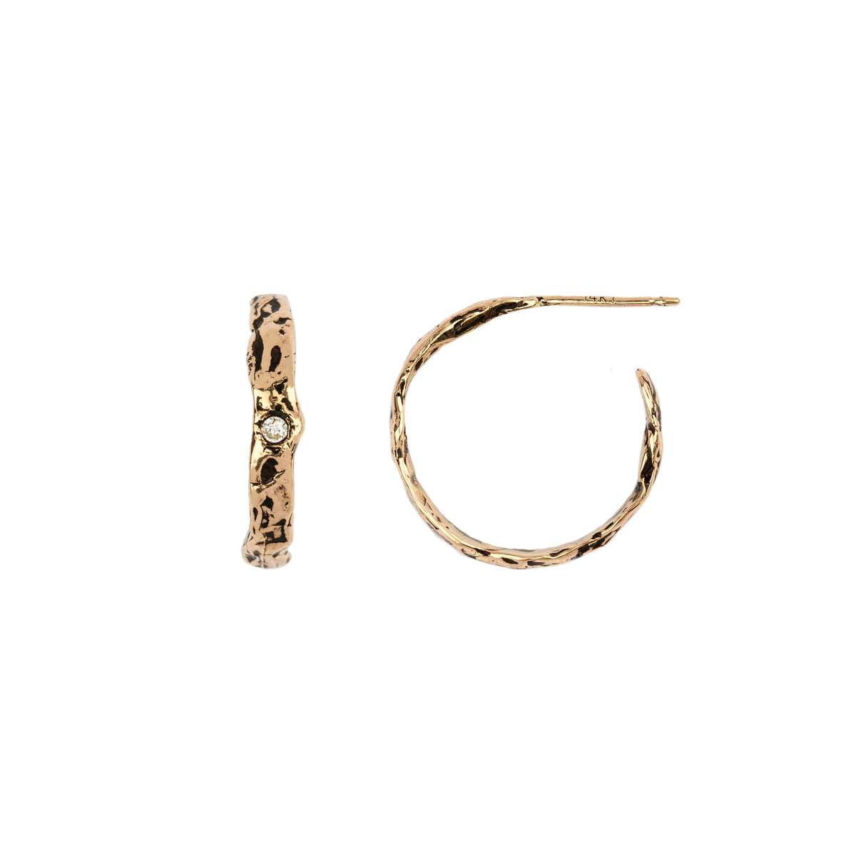 Small 14K Gold Precious Stone Set Texture Hoops