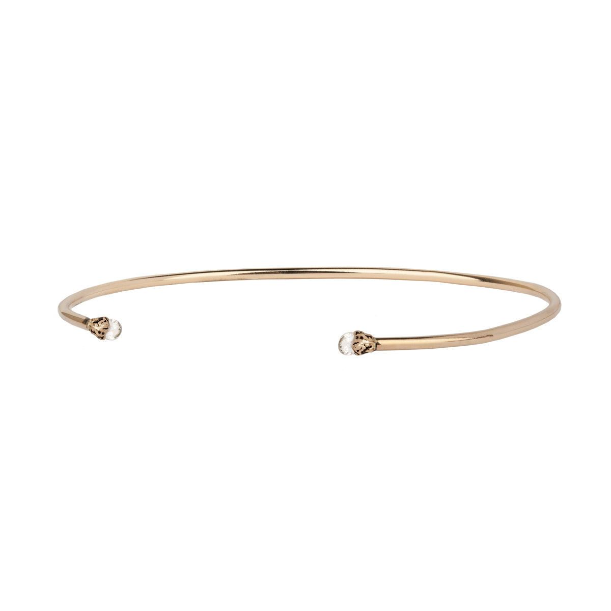 Tiny Diamond 14K Gold Capped Attraction Charm Open Bangle - pyrrha - 1