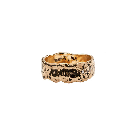 Ab Hinc Wide 14K Gold Stone Set Textured Band Ring