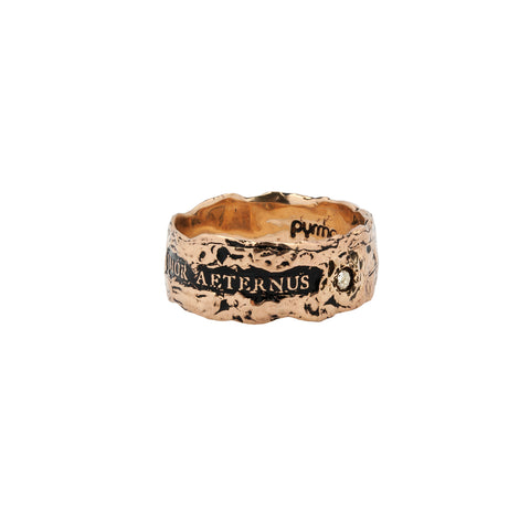 Amor Aeternus Wide 14K Gold Diamond Set Textured Band Ring