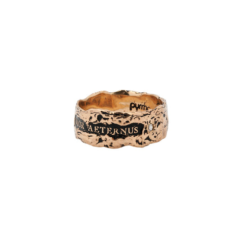 Amor Aeternus Wide 14K Gold Stone Set Textured Band Ring