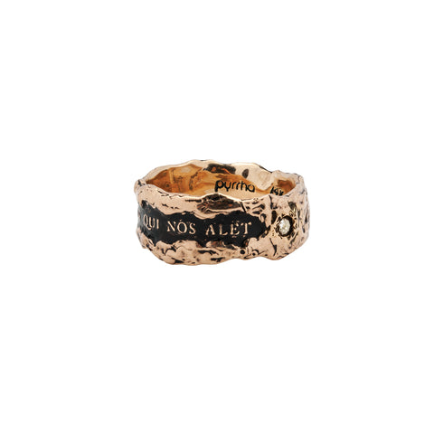 Amor Est Spiritus Qui Nos Alet Wide 14K Gold Diamond Set Textured Band Ring