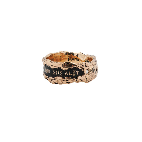 Amor Est Spiritus Qui Nos Alet Wide 14K Gold Stone Set Textured Band Ring