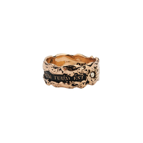 Cor Meum Tuum Est Wide 14K Gold Diamond Set Textured Band Ring