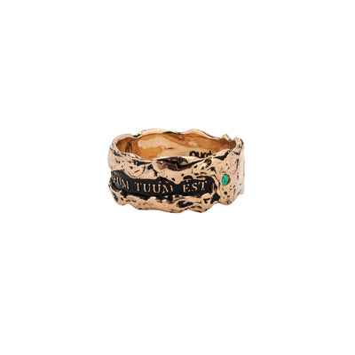 Cor Meum Tuum Est Wide 14K Gold Stone Set Textured Band Ring