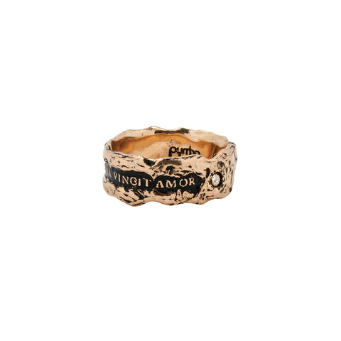 Omnia Vincit Amor Wide 14K Gold Diamond Set Textured Band Ring