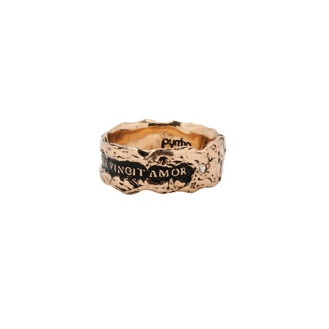 Omnia Vincit Amor Wide 14K Gold Stone Set Textured Band Ring