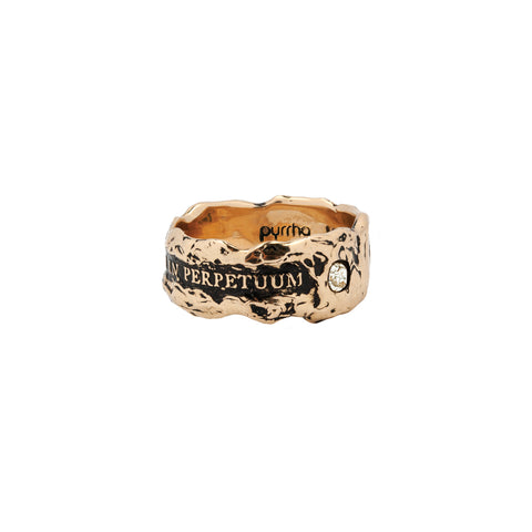 Una In Perpetuum Wide 14K Gold Diamond Set Textured Band Ring