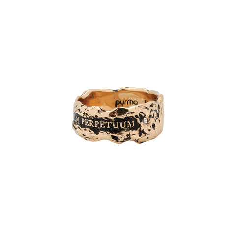 Una In Perpetuum Wide 14K Gold Stone Set Textured Band Ring