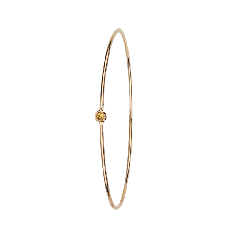 Yellow Montana Sapphire Stone Set 14K Gold Polished Bangle