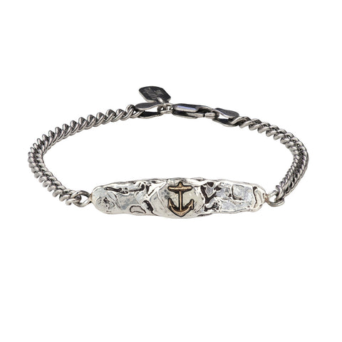Anchor 14K Gold on Silver ID Bracelet - Pyrrha  - 1