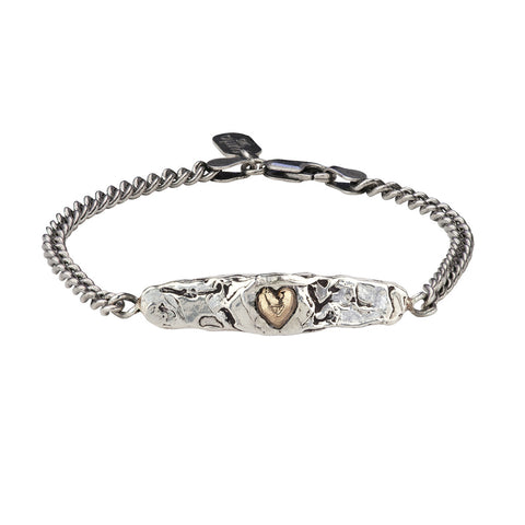 Heart 14K Gold on Silver ID Bracelet - Pyrrha  - 1