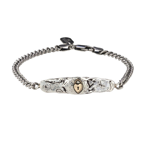 Heart Lock 14K Gold on Silver ID Bracelet - Pyrrha  - 1