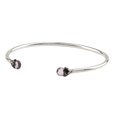 Love Capped Attraction Charm Open Bangle - Pyrrha