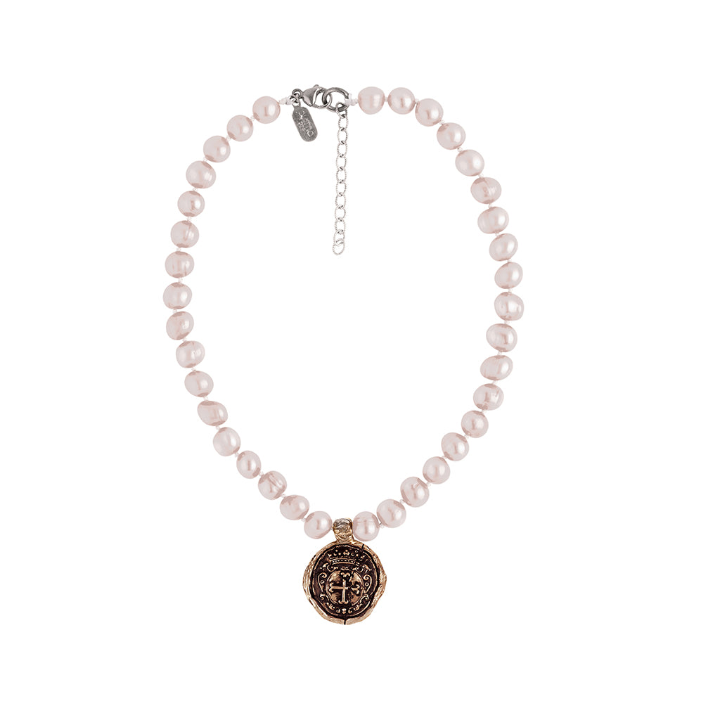 Trust In God Knotted Freshwater Pearl Choker