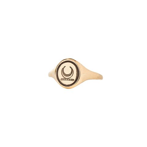 Crescent Moon 14K Gold Oval Signet Ring