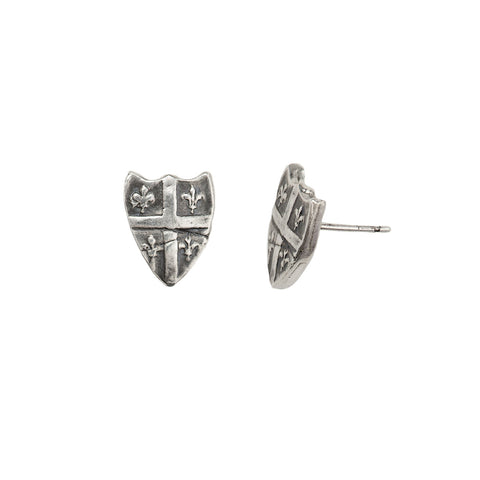 Fleur de Lys Shield Stud Earrings - Pyrrha  - 1