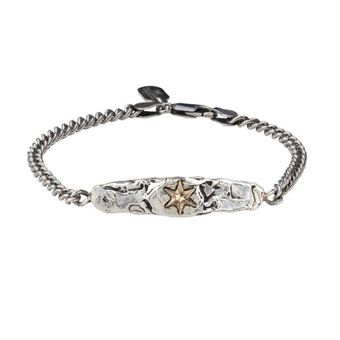 Star 14K Gold on Silver ID Bracelet - Pyrrha  - 1