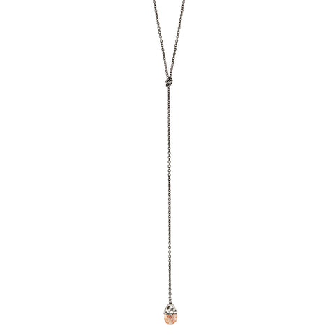 Sunstone Capped Stone Lariat Necklace