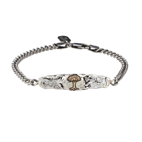 Tree 14K Gold on Silver ID Bracelet - Pyrrha  - 1