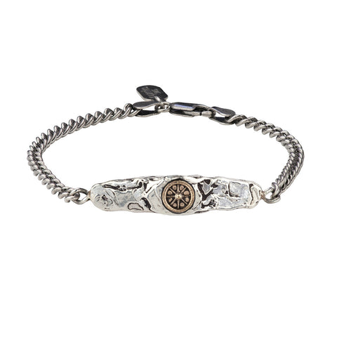 Wheel 14K Gold on Silver ID Bracelet - Pyrrha  - 1