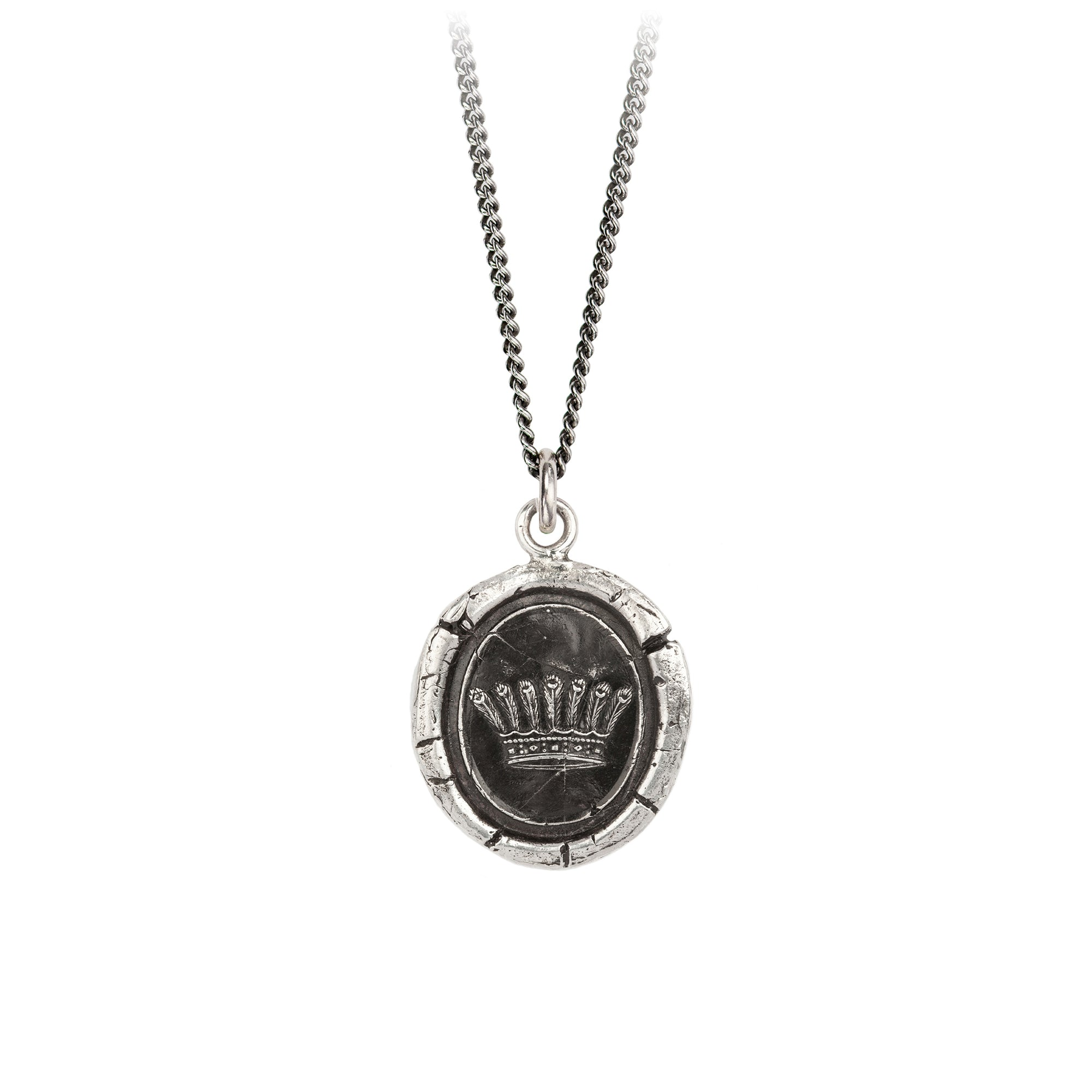 Pyrrha Accomplishment Talisman Necklace Fine Curb Chain Silver