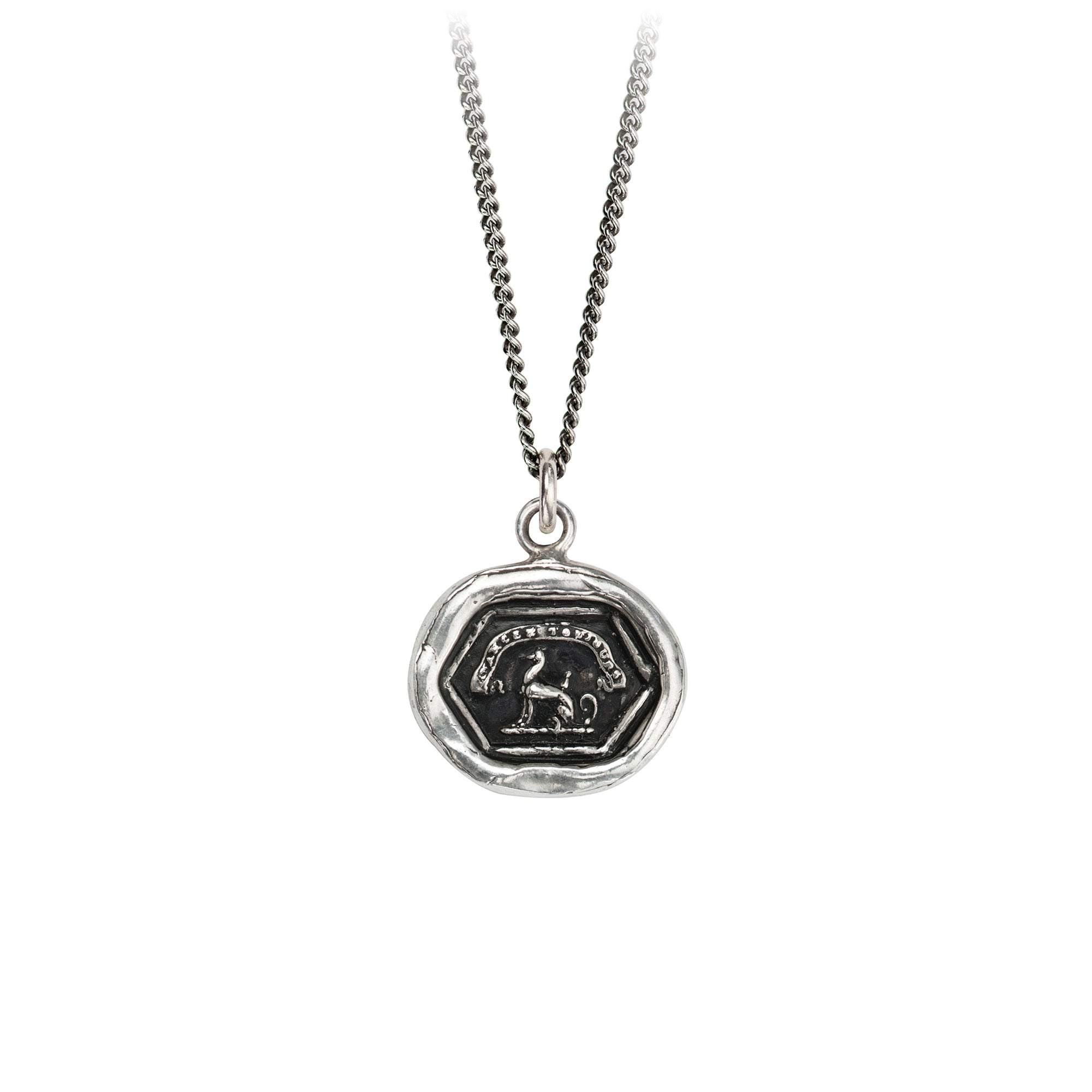 Pyrrha Aim High Talisman Necklace Fine Curb Chain Silver