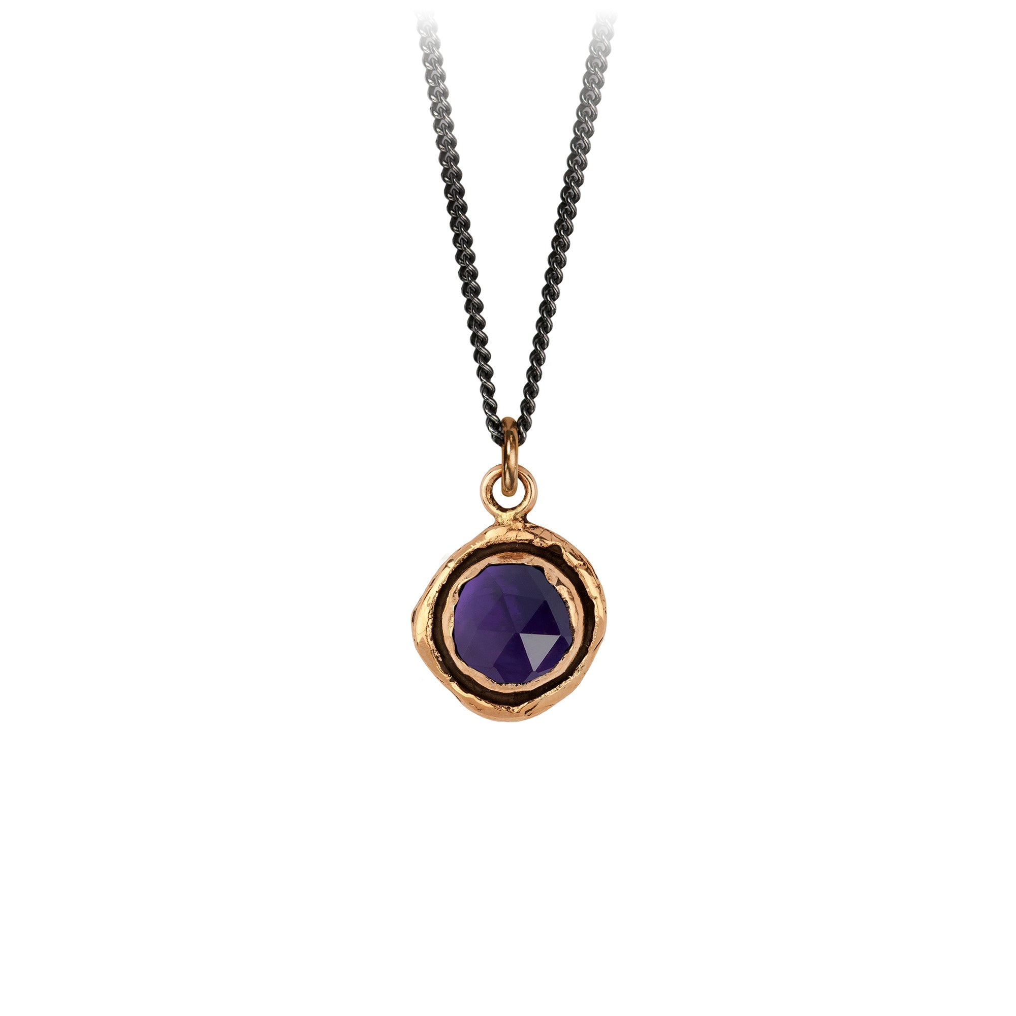 Pyrrha Amethyst Faceted Stone Talisman Necklace Bronze