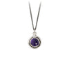 Pyrrha Amethyst Faceted Stone Talisman Necklace Silver