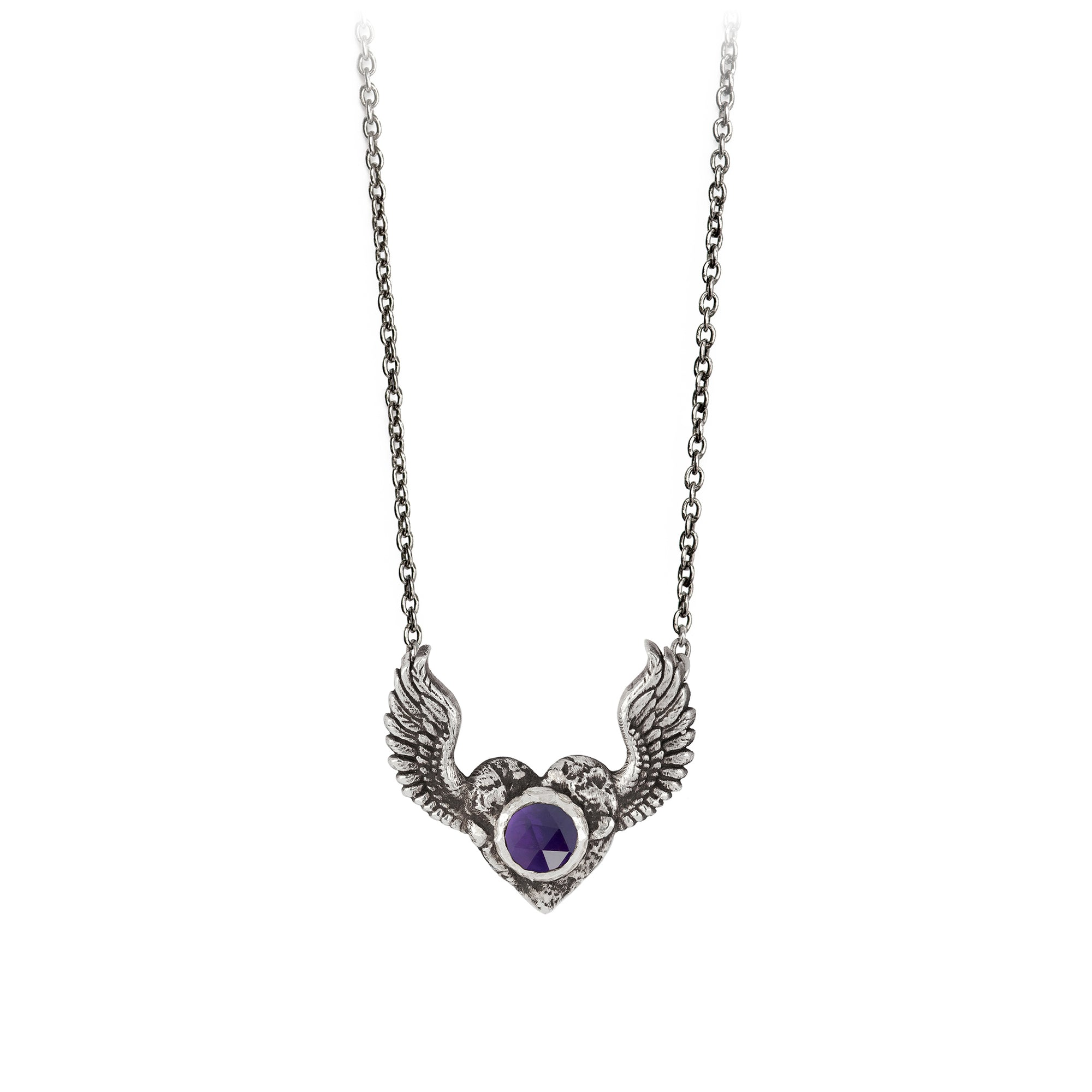 Pyrrha Heart with Wings Amethyst Faceted Stone Talisman Silver