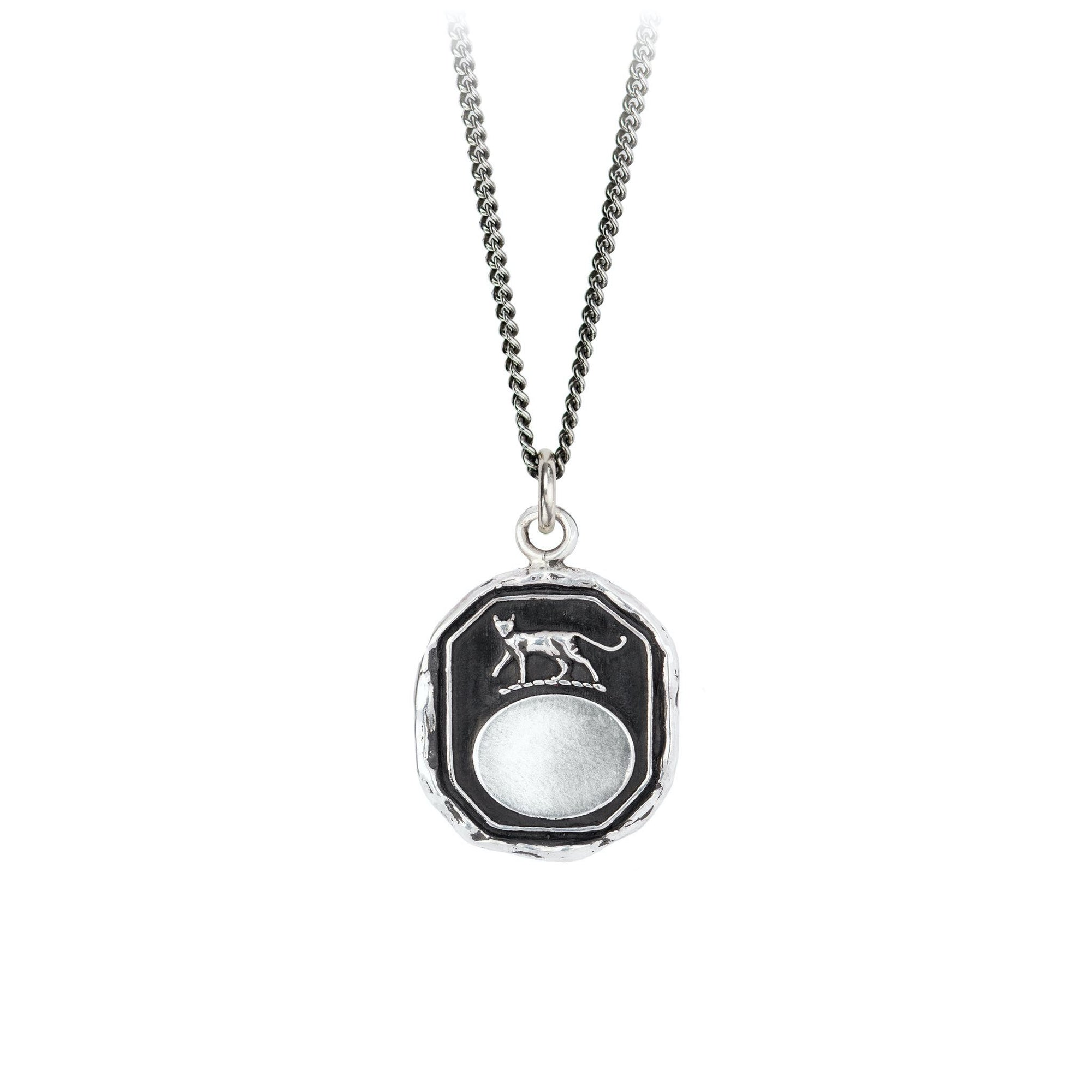Pyrrha Cat Engravable Talisman Necklace Fine Curb Chain Silver