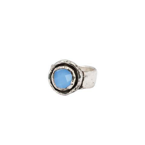chalcedony faceted stone talisman ring - pyrrha - 1