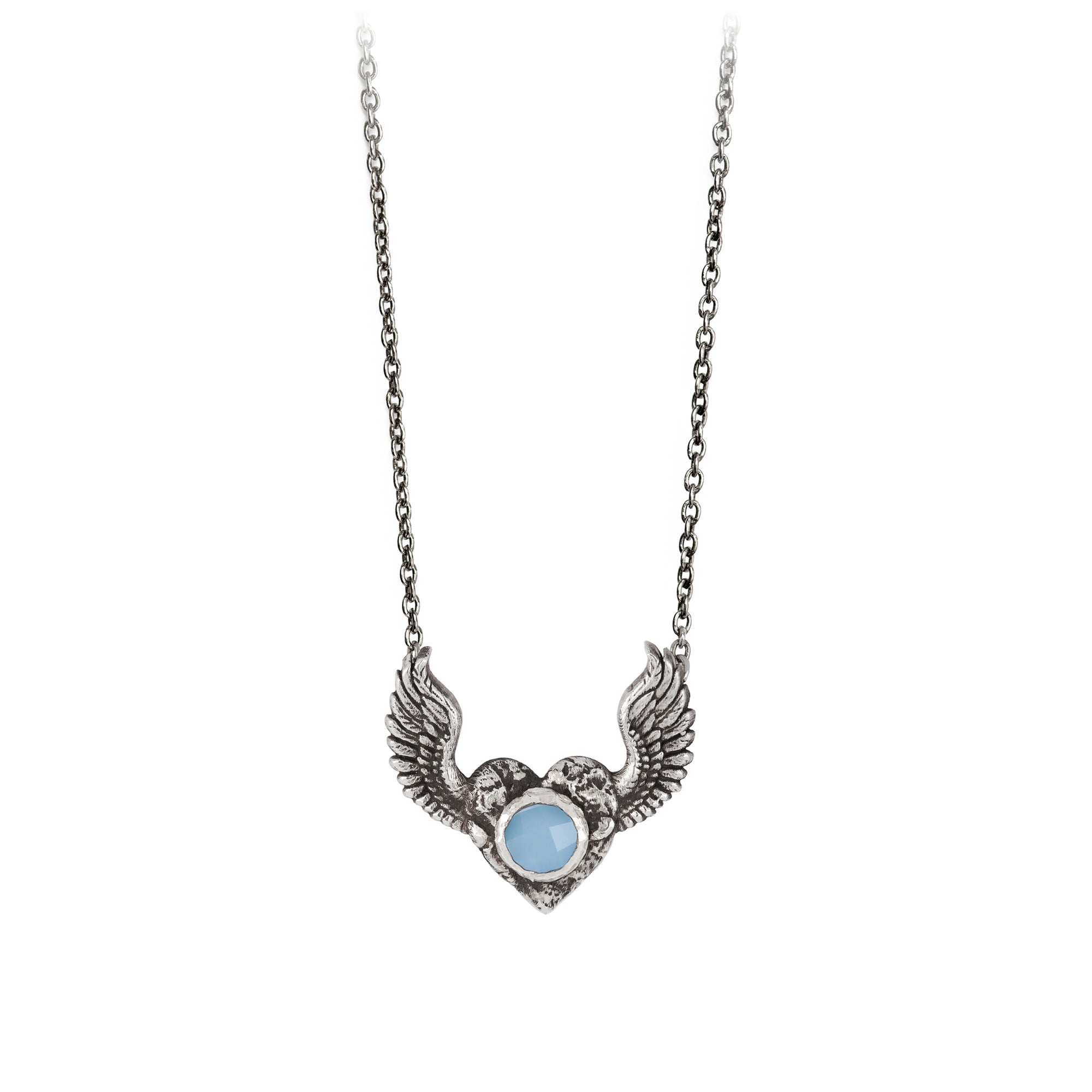 Pyrrha heart with wings chalcedony faceted stone necklace