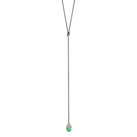 Chrysoprase Capped Stone Lariat Necklace