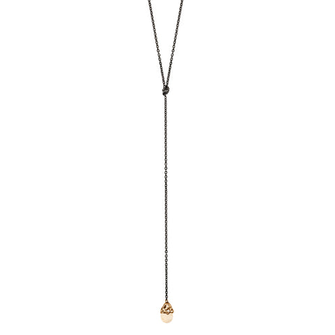 Citrine Capped Stone Lariat Necklace