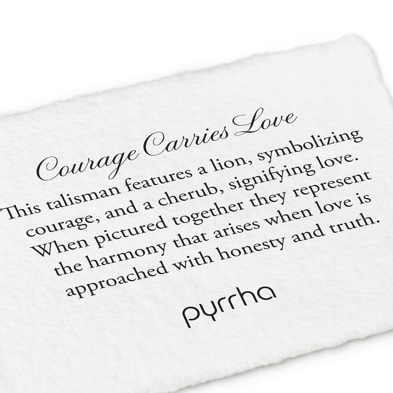 Pyrrha Courage Carries Love Talisman Necklace Fine Curb Chain Silver