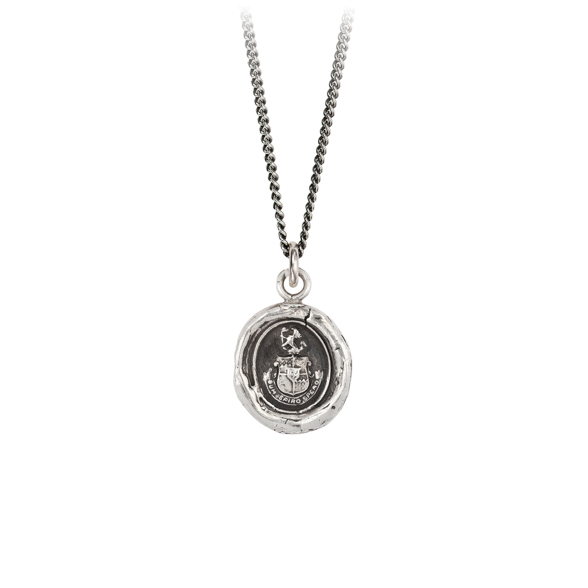 Pyrrha Courage to Hope Talisman Necklace Silver