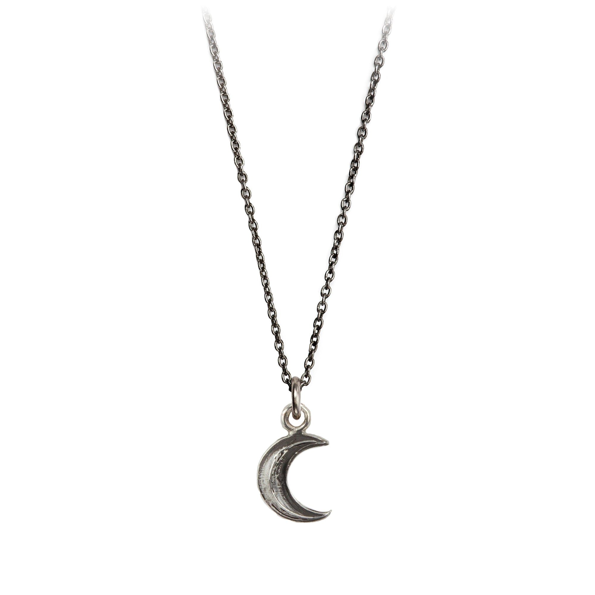 Pyrrha Crescent Moon Symbol Charm Necklace Silver