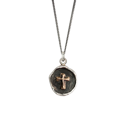 Cross 14k Gold on Silver Talisman - Pyrrha - 2
