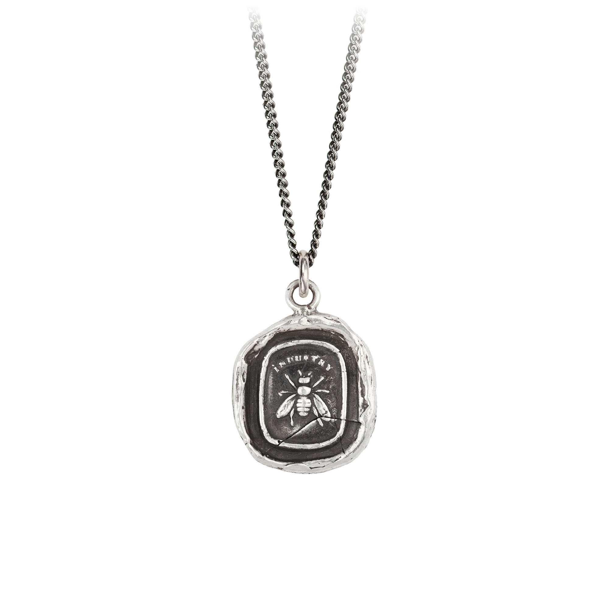 Pyrrha Dedication Talisman Necklace Fine Curb Chain Silver