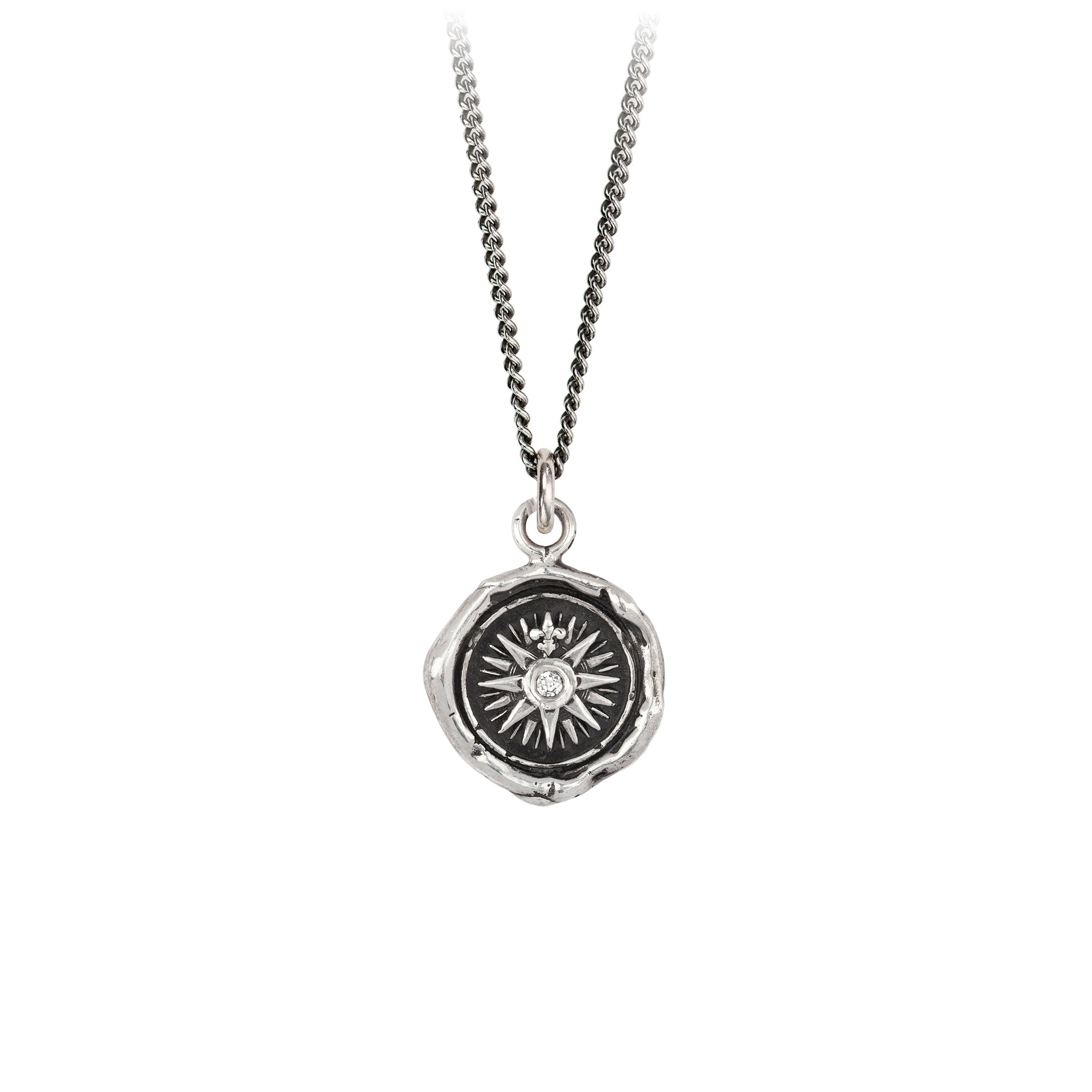 Pyrrha Diamond Set Direction Talisman Necklace Silver