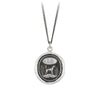 Pyrrha Dog Engravable Talisman Necklace Fine Curb Chain Silver