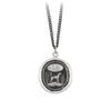 Pyrrha Dog Engravable Talisman Necklace Medium Curb Chain Silver