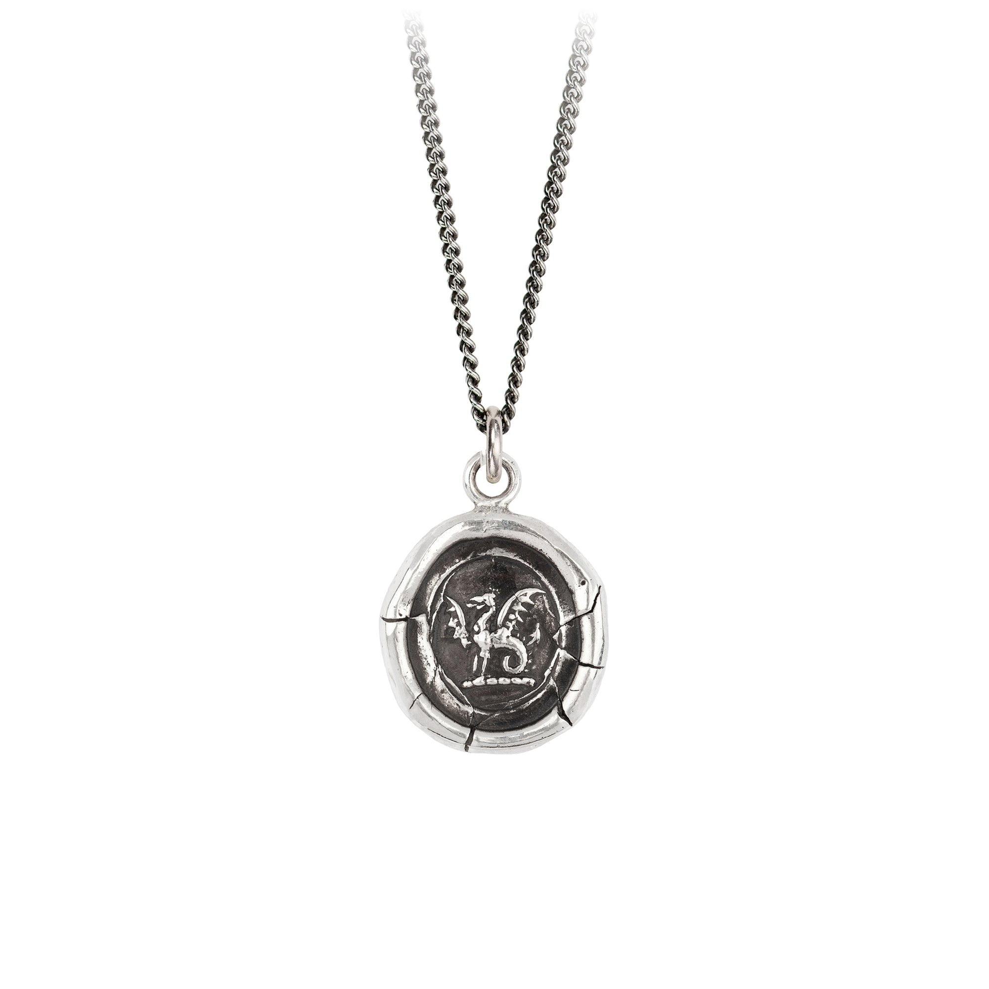 Pyrrha Dragon Talisman Necklace Silver