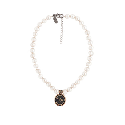 Dragonfly Knotted Freshwater Pearl Choker