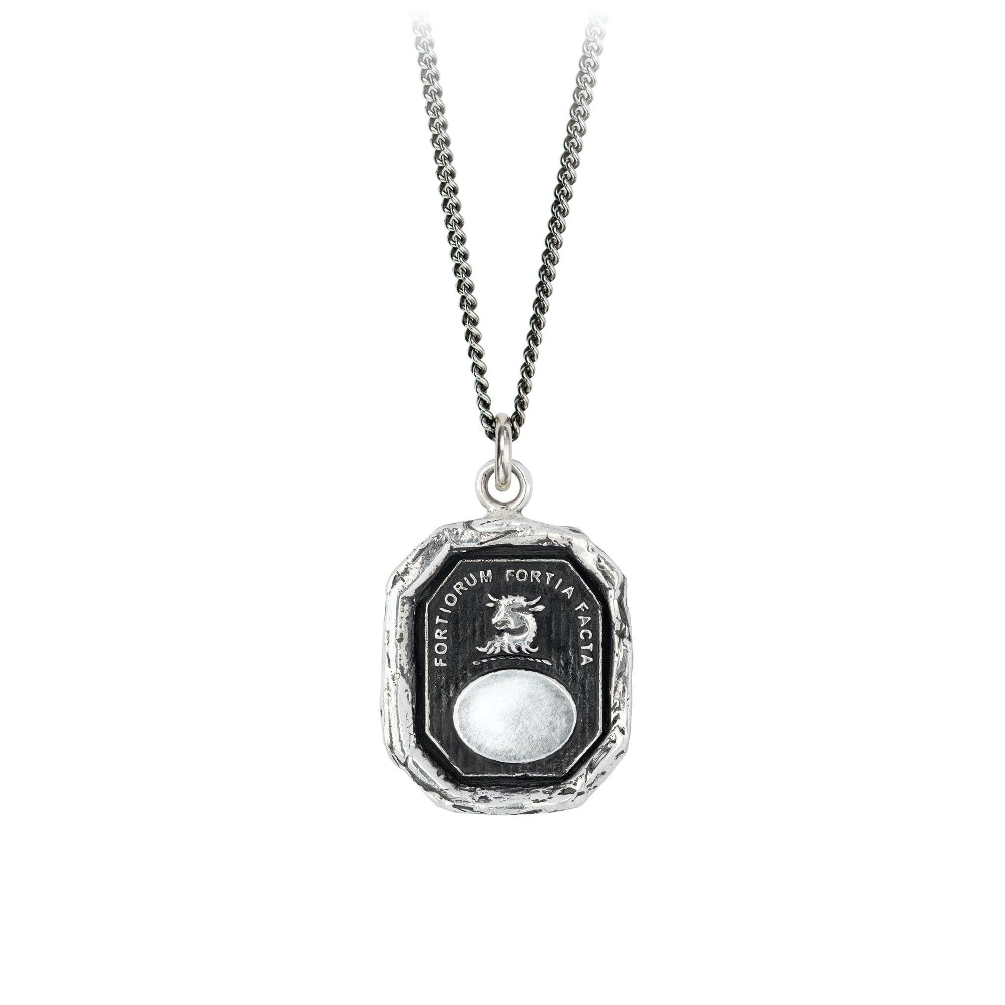 Pyrrha Father Engravable Talisman Necklace Fine Curb Chain Silver
