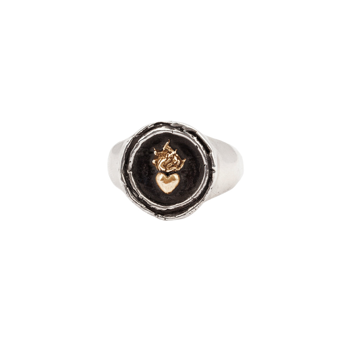 Flaming Heart 14K Gold On Silver Signet Ring